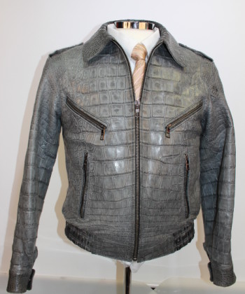 "Grey Alligator Men""s Jacket at Rafaello"