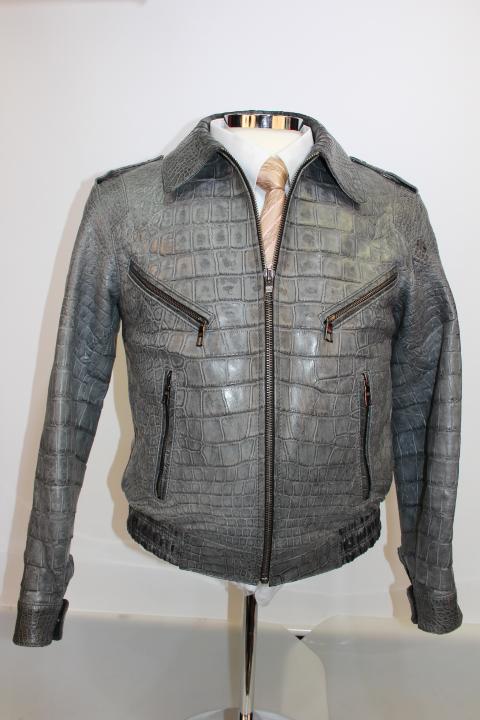 "Grey Alligator Men""s Jacket at Rafaello"