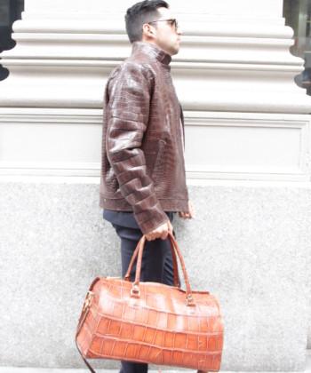 alligator jacket handbag